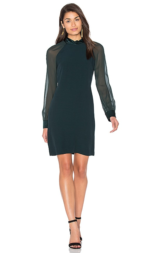 IKKS Paris Sheer Long Sleeve Shift Dress in Dark Green