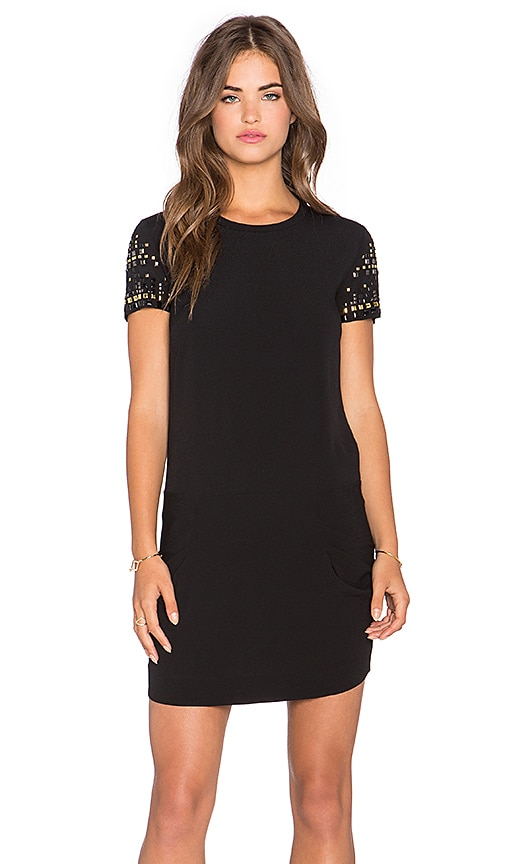 IKKS Paris Embellished Mini Dress in Noir