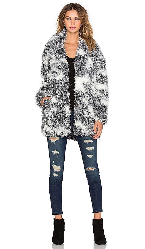 IKKS Paris Faux Fur Coat in Gris Chine