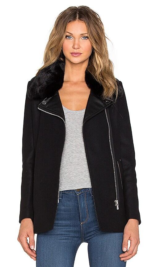 IKKS Paris Faux Fur Collar Coat in Noir
