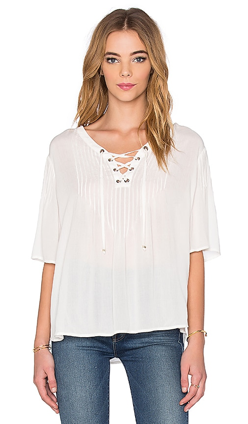 IKKS Paris Grommet Lace Up Top in White