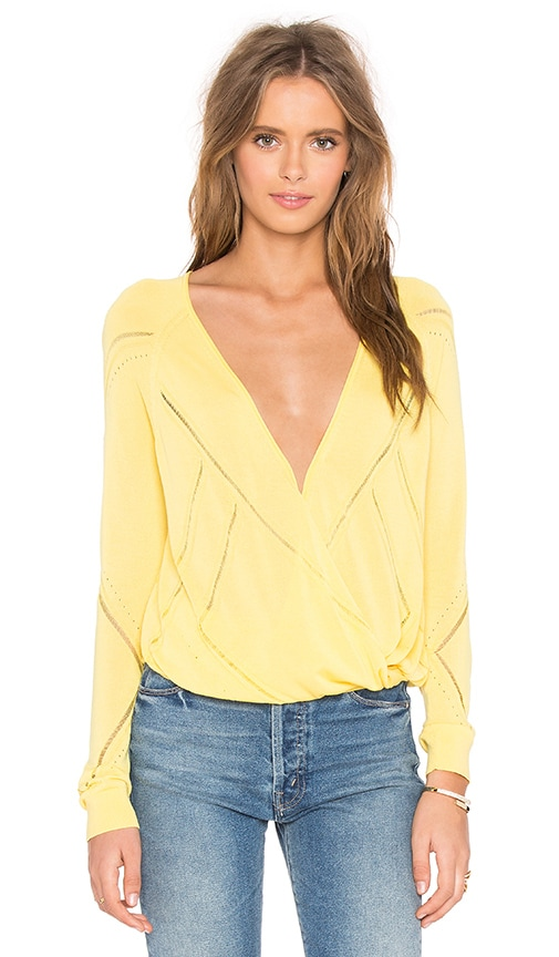 IKKS Paris Ajoure Cardigan in Yellow
