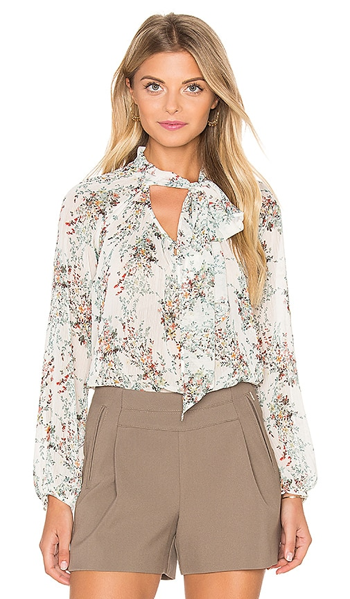 IKKS Paris Tie Neck Long Sleeve Blouse in Ecume