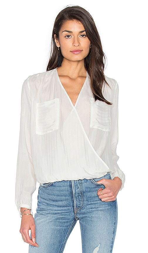 IKKS Paris Long Sleeve Drape Front Blouse in White