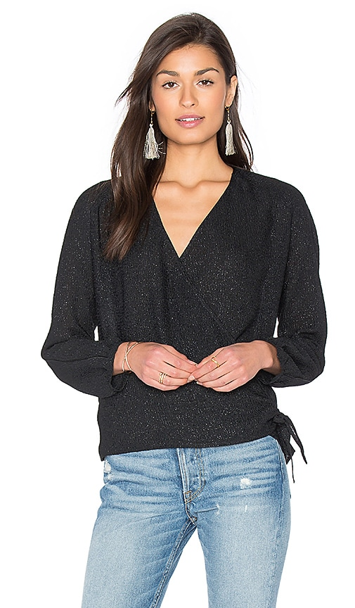 IKKS Paris Long Sleeve Wrap Blouse in Black