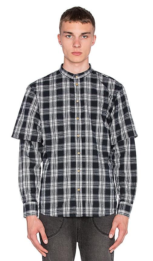 I Love Ugly Mandarin Collar Shirt in Split Black Check