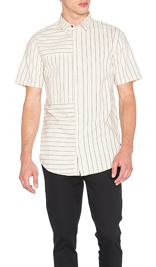 I Love Ugly SS Panel Stripe Shirt in Beige