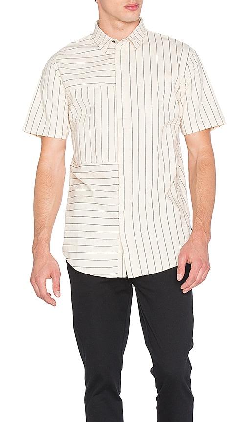 I Love Ugly SS Panel Stripe Shirt in Cream & Black