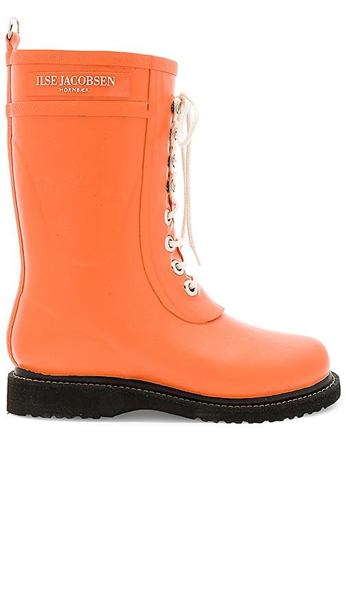 ILSE JACOBSEN Mid Calf Rubber Boot in Orange