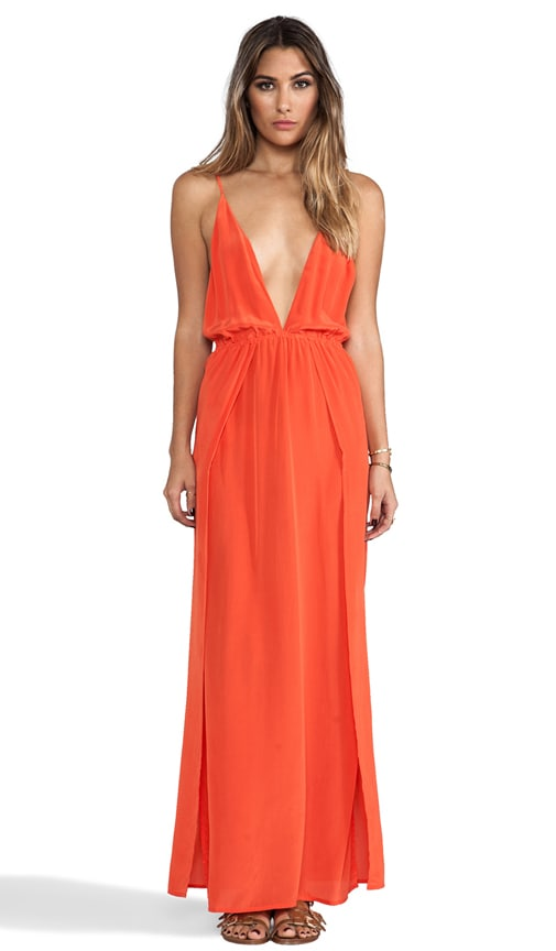 River Silk Crepe Split Front Wrap Side Maxi Dress With Adjustable Tie Back