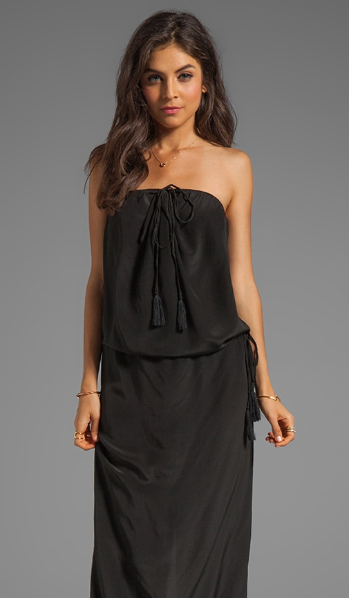 Roo Silk Crepe Long Strapless Maxi Dress With Adjustable Waist and Tie Top