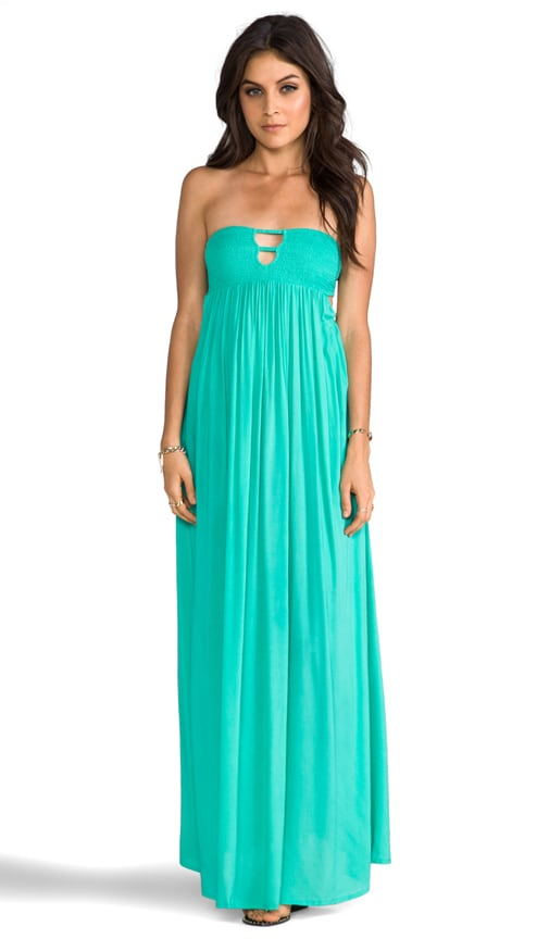 Flamingo Rayon Crepe Smocked Bandeau Maxi Dress