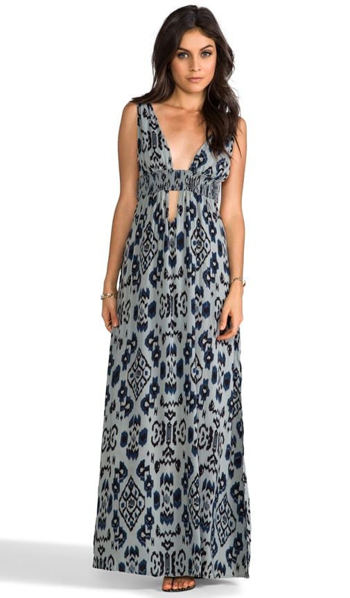 Anjeli Plunging V-Neck & Back Empire Maxi Dress