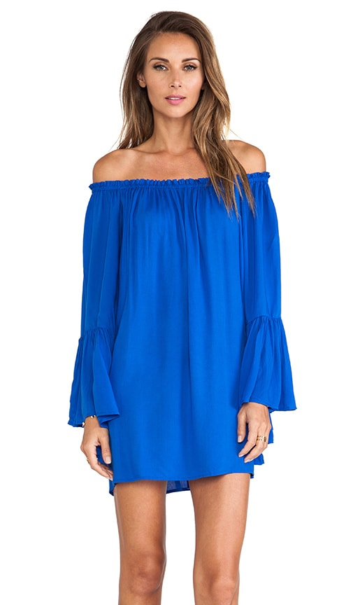 Indah Kamani Ruffle Edge Mini Dress in Cobalt