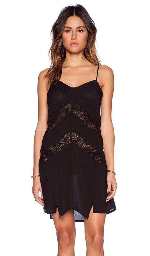 Indah Amuse Panel Lace Slip Dress in Black