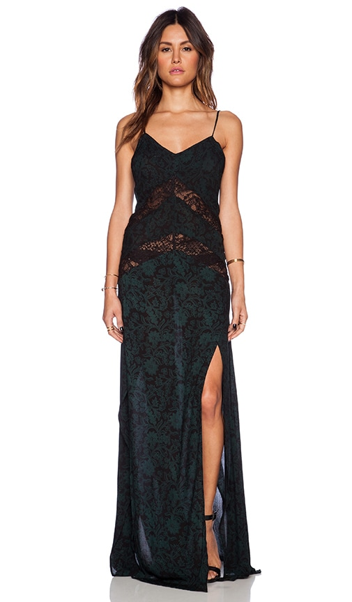 Indah Elate Panel Lace Slip Maxi Dress in Batik Green