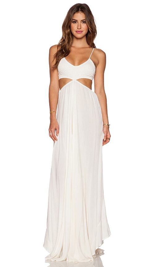Indah Innocence Cutaway Maxi Dress in Ivory