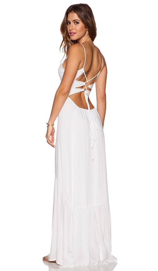 Indah Zera Ruffle Bottom Maxi Dress in White