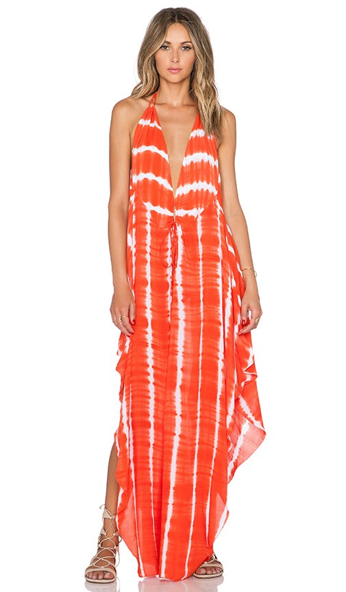 Indah Imani Halter Maxi Dress in Garis Orange