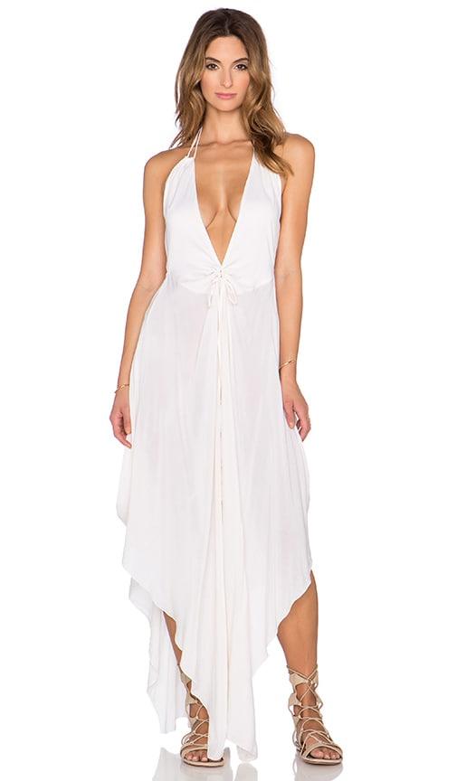 Indah Imani Solid Halter Maxi Dress in Ivory