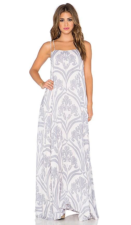 Indah Shale Printed Minimal Maxi Dress in Venice Rain