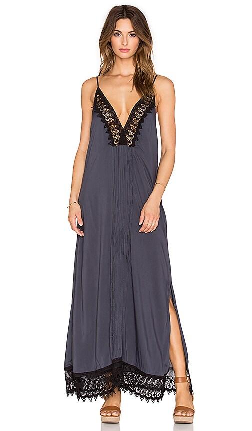Indah Magnolia Lace & Pleat Lined Maxi Dress in Slate