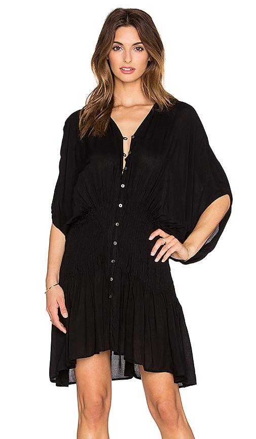Indah Zion Pleat & Button Mini Dress in Black
