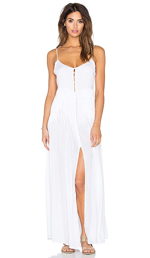 Indah Uma Pleat & Button Maxi Dress in White