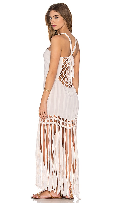 Indah Takala Macrame Fringe Dress in Peach