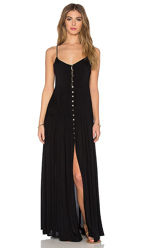 Indah Uma Pleat & Button Maxi Dress in Black
