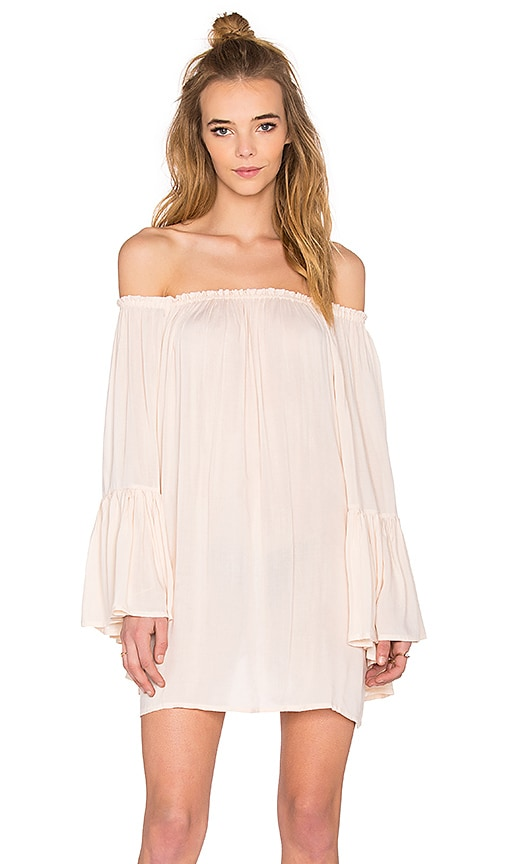 Indah Kamani Off the Shoulder Mini Dress in Sand