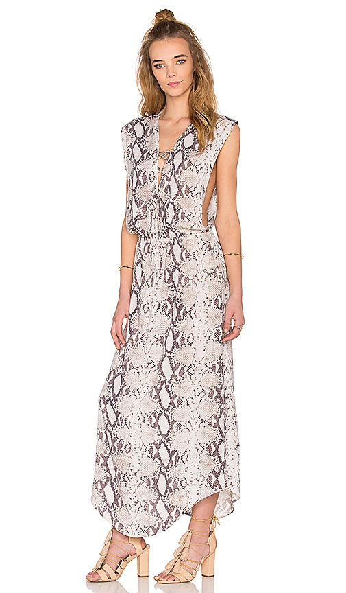 Indah Pamela Lace Up Maxi Dress in Natural Python
