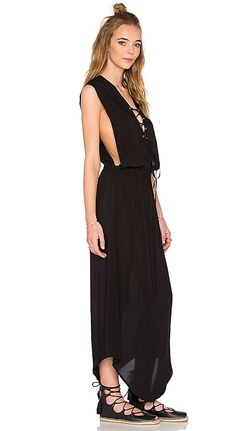 Indah Pamela Lace Up Maxi Dress in Black