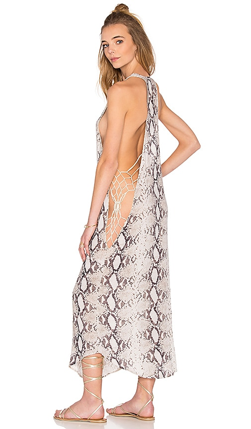 Indah Tamri Open Sides Maxi Tank Dress in Natural Python