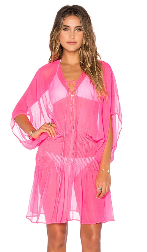 Indah Dragonfly Lace Up Tunic in Fluoro Pink