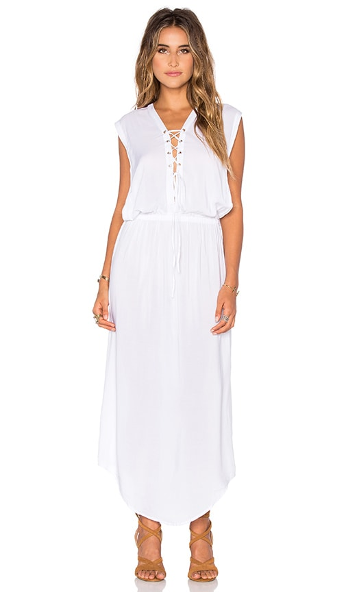 Indah Pamela Lace Up Maxi Dress in White