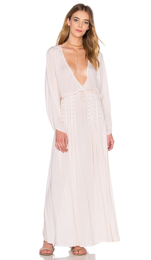 Indah Cedar Dolman Sleeve Maxi Dress in Beige