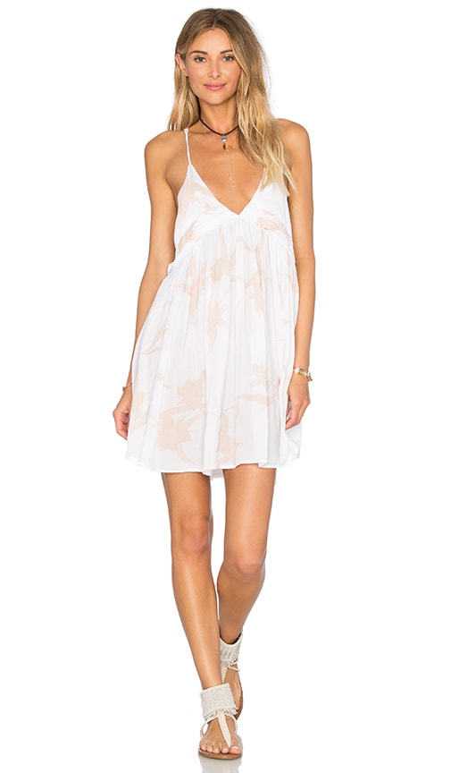 Indah Saffron Printed Mini Dress in White