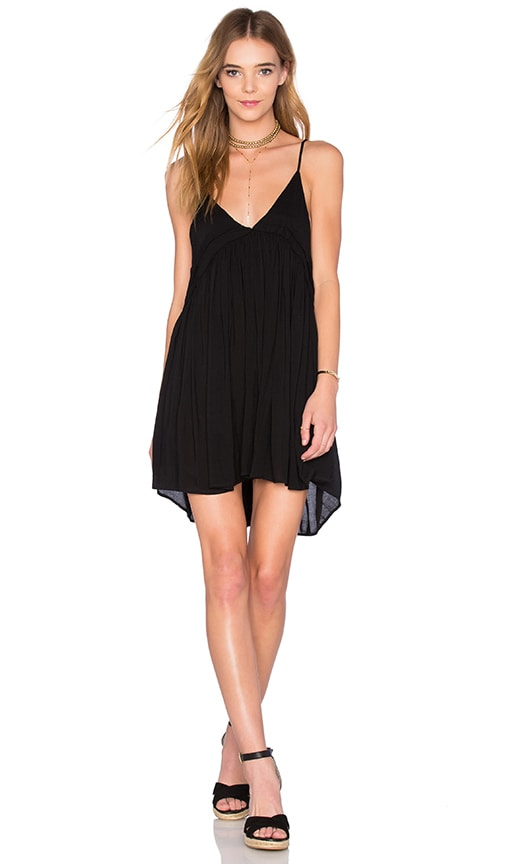 Indah Saffron Solid Mini Dress in Black