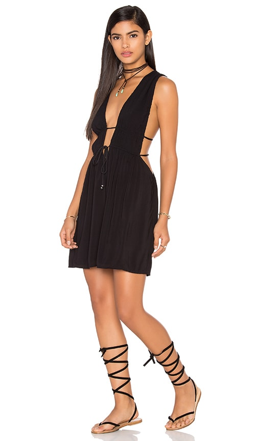 Indah Stellar Deep V Dress in Black