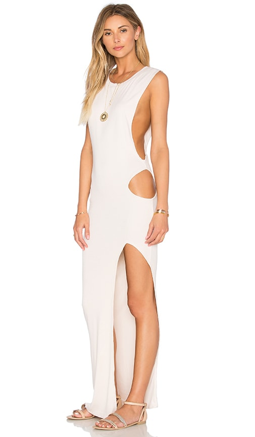 Indah Thea Cutout Maxi Dress in Beige