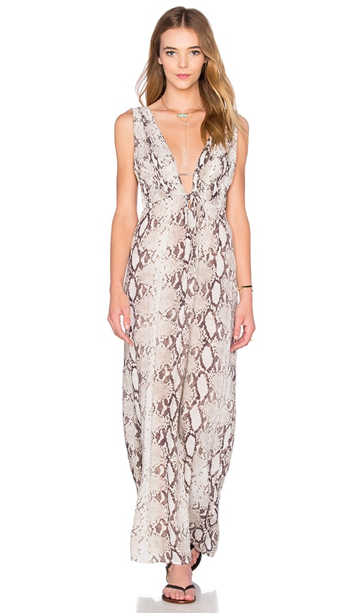 Indah Titanium Deep V Maxi Dress in Gray
