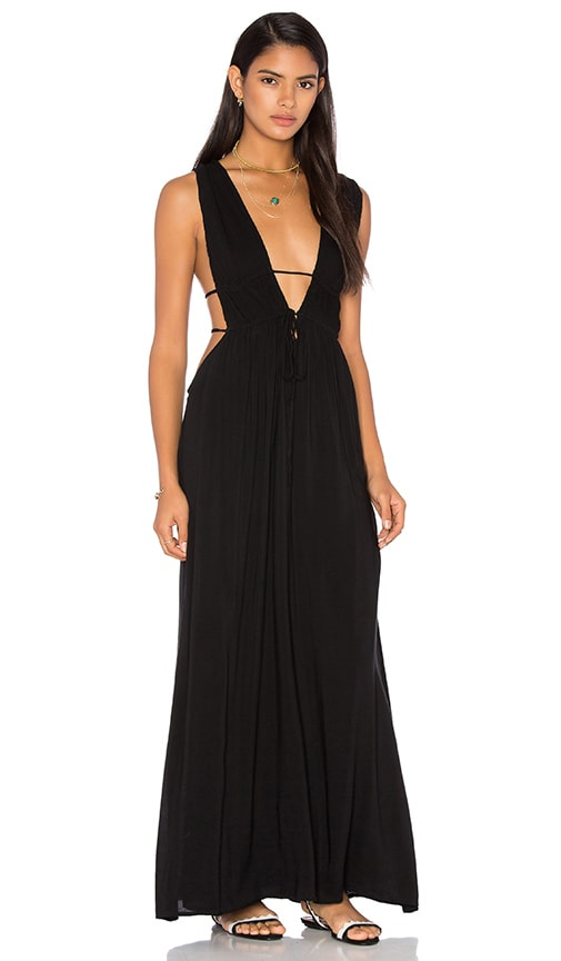 Indah Titanium Deep V Neck Cutout Maxi Dress in Black
