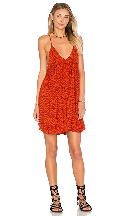 Indah Saffron Printed Mini Dress in Red