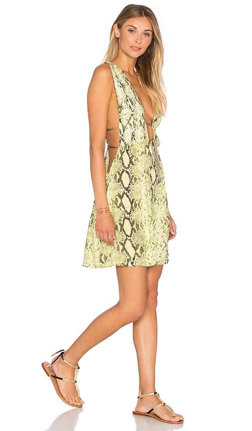 Indah Stellar Deep V Dress in Citrus Python