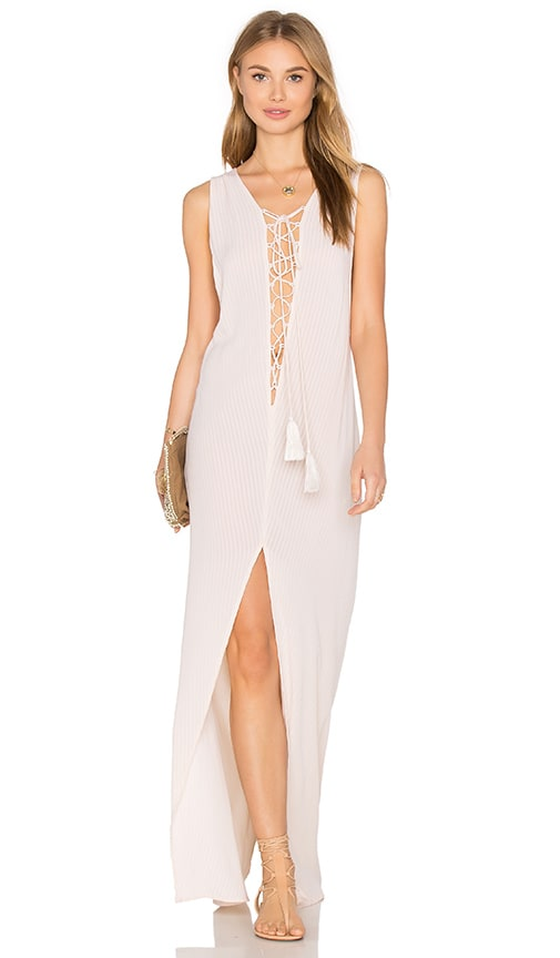 Indah Island Lace Up Maxi Dress in Beige