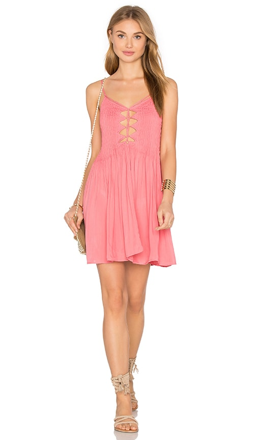 Indah Vivid Lace Up Dress in Pink