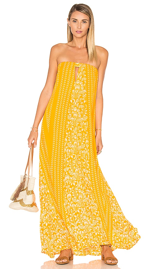 Indah Sail Printed Strapless Maxi Dress in Orange