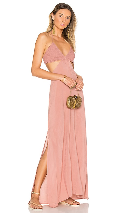 Indah Blaze Cutaway Maxi Dress in Rose