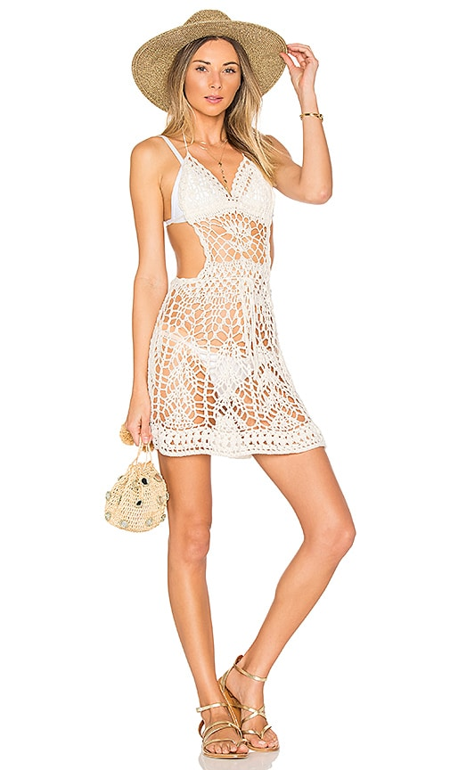 Indah Poppy Mini Dress in Ivory
